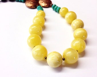 Yellow Jade Necklace - yellow turquoise bead necklace - 12th anniversary gift - bright yellow - yellow jewelry -  brown - 35th