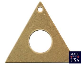 Top Hole Center Cutout Raw Brass Flat Triangle Charms Drops 17mm (6) mtl479B