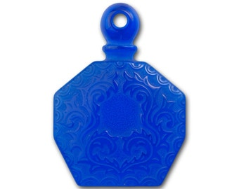 Vintage Sapphire Blue Etched Faux Perfume Bottle Pendant 55x40mm (1) pnd064F