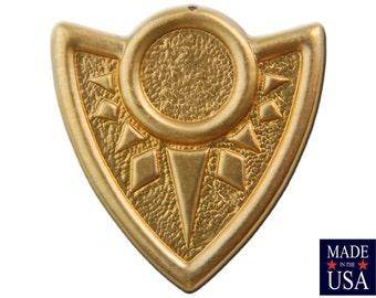 Raw Brass Tribal Shield Pendant 14mm Setting (2) mtl172