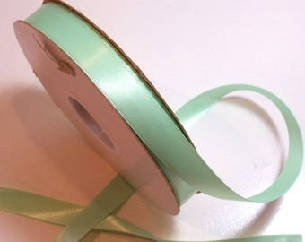 Green Ribbon, Mint Green Satin Ribbon 5/8 inch wide x 10 yards, Double-Faced, Offray Mint Green Ribbon