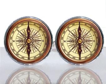Round Glass Tile Cuff Links - Compass CIR149