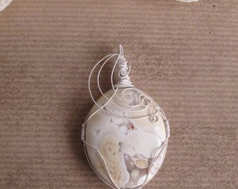 White Picture Jasper Large Free Form Wire Wrap Pendant  Steampulp (Free US Shipping)