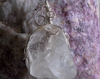 Blanchard New Mexico Barite Pendant Free Form Wire Wrap Mystic Gypsy ( Free US Shipping)
