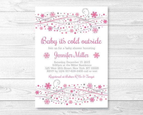 pink snowflake baby shower invitation / snowflake baby shower,