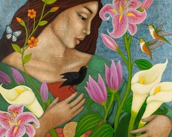 Mother Earth Goddess Art Print of Painting - Hummingbird Flower Garden Portrait - Wall Art & Home Decor