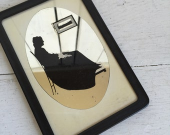 Vintage Silhouette Whistler's Mother - Reverse Painted Mirror Glass Framed Art - Small