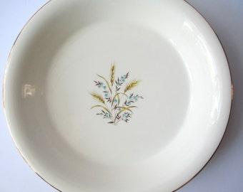 Vintage Canonsburg Citation Aqua Tan Floral Wheat Pie Plate - Retro Kitchen