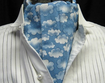 ASCOT clouds Anime medium blue white fluffy clouds casual Friday dressing tie caravat jabot unisex man's plus size one size