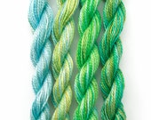 Perle 8 cotton embroidery thread, hand dyed, 4 mini skeins - light blue, yellow, pale green, olive, teal, space dyed perle 8