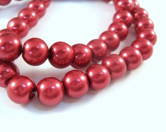 50 8mm Glass Pearls Brick Red Beads - 14 inch - 5129
