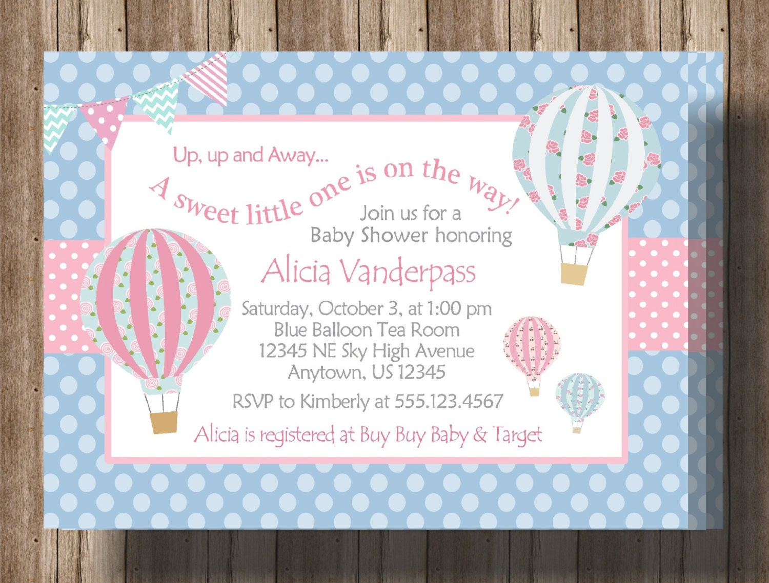 HOT AIR BALLOON Baby Shower Invitation Gender Neutral / Teal