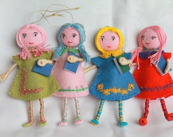 Art Doll Back to School Girl Hanging Ornament
