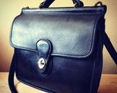 Vintage Coach Purse Messenger Bag Crossbody Black Leather 1990's