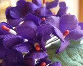 Vintage Millinery Flowers Purple Satin Posies