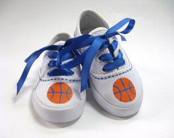 Basketball Shoes, Sports Theme Party, Sports Team Shoes, Basketball Sneakers, Hand Painted Cotton Canvas Sneakers for Baby and Toddlers