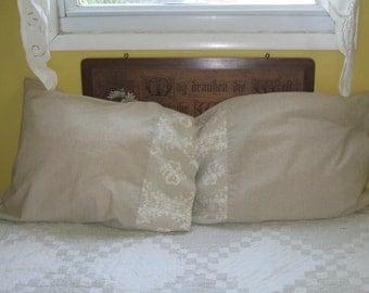Linen Pillowcases . linen look pillowcase .  Lace Design pillow case .  Cuddledown of Maine