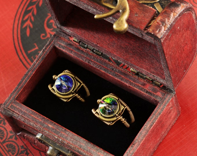7th anniversary special sale - 2 swarovski crystal steampunk rings - wooden box included - Bermuda Blue and Vitrail