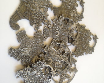 Collection of Pewter Flower Ornaments