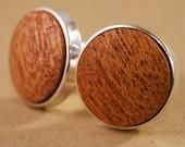 Cufflinks - Mahogany Wood in Silver Bezel cuff links