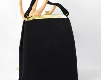 Vintage 1950s Black Faille Evening Envelope Handbag Purse by JR