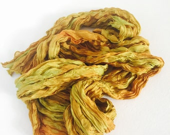 Silk Scarf  Chartreuse Gold Hand Dyed Long Fiber Art from Textured Silks collection - Aztec Gold