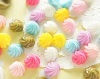 Assorted 6 pairs (12pcs) Whipped Cream Cabochon (11mm) CD603