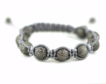 Macrame Bracelet With 10mm Sterling Silver Pave Diamond Beads and Grey Cord BPD2