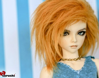 Akasarushi Apricot Color Fur Wig Made for abjd doll size SD MSD tiny yosd and puki