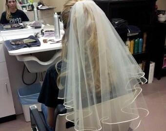 "READY TO SHIP 2 Tier Diamond White Fingertip Drop Wedding Veil Bridal with a 1/4"" Ribbon Edge"