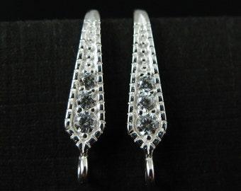 Sterling Silver Earring Findings- Bridal Earwire- CZ Stone Earwire- Elongated Diamond Shape- Earrings ( 2 pieces - 1 pair ) SKU: 203039