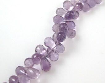February Birthstone-Semi Precious Gemstone Beads-100% Genuine Pink Amethyst Faceted Drops-Grade A/AA Briolette-8 mm-10 pcs-SKU:309001-PAM-08