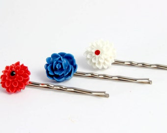 Patriotic Hair Pins,  Red Navy Blue and White Flower Pins, Gifts Girl Her Under 15