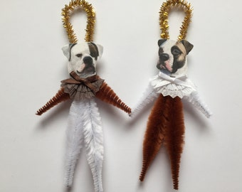 AMERICAN BULLDOG ornaments dog ORNAMENTS vintage style chenille ornaments set of 2
