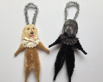 LABRADOODLE ornaments dog ORNAMENTS vintage style chenille ornaments set of 2