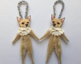 CHIHUAHUA ornaments dog ORNAMENTS vintage style chenille ornaments set of 2