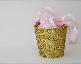 Flower Girl Basket + Gold Glitter Flower Girl Basket