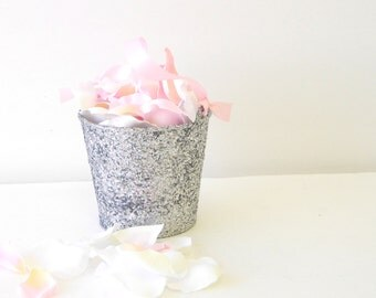 "Flower Girl Basket + Silver Glitter Flower Girl Basket with Ribbon Handle (4 1/2"" x 4 7/16""x 3 3/8"")"