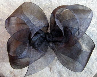 X Large KING Size Sheer Organza Hair Bow in Black