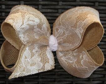 X-Large King Size Khaki Burlap with White Lace Overlay Fabric Hair Bow