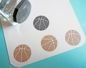 Tiny Basketball Sports Rubber Stamp  - Handmade by BlossomStamps