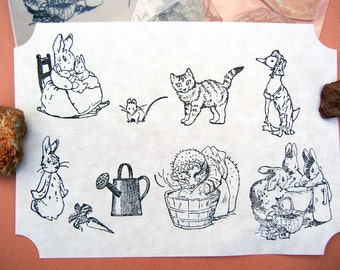 Beatrix Potter Peter Rabbit Rubber Stamp Set - Unmounted, Cling - Handmade rubber stamps by Blossom Stamps