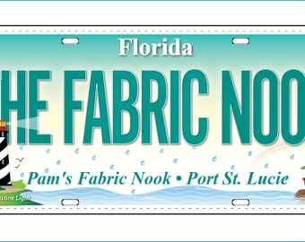 Row by Row H2O 2015 Pam's Fabric Nook Fabric License Plate and Round Lapel Pin