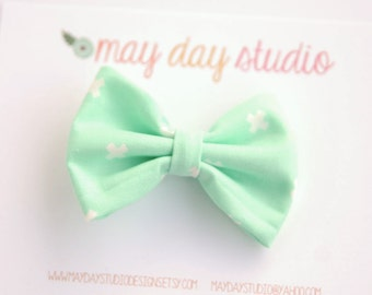 girls/toddler fabric boutique bow hair clip, mint and white plus alligator clip hair bow