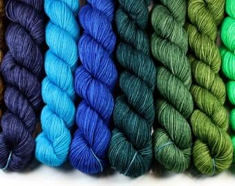 Heels And Toes--hand dyed sock yarn, merino and nylon, (230yds/50gm)