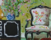 Chinoiserie, Interior Design, Art Print of My Original Painting, French Chair, Chartreuse Wallpaper, Small Miniature Art