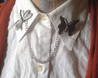 dragonfly and butterfly collar pin