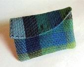 Weaving, Handwoven Change Purse, Card Holder, Blue Green Purple
