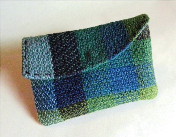 Weaving, Handwoven Change Purse, Card Holder, Blue Green Purple