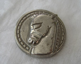 Large VINTAGE Silver Metal horse Head BUTTON
